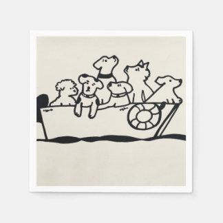 """Serviette Jetable Serviettes de papier de """"chiens et de bateaux"""" par"""