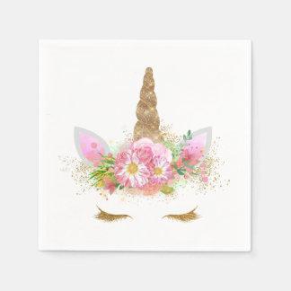 Serviette Jetable Serviettes de papier de licorne d'or de rose de