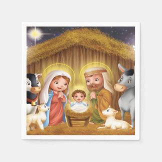 Serviette Jetable Serviettes de papier de scène de nativité de Noël