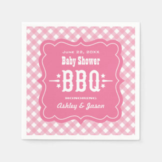 Serviette Jetable Serviettes de plaid de guingan de BBQ | rose et