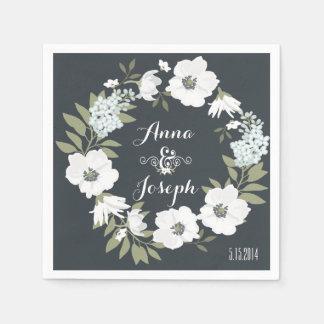 Serviette Jetable Serviettes florales noires et blanches de mariage