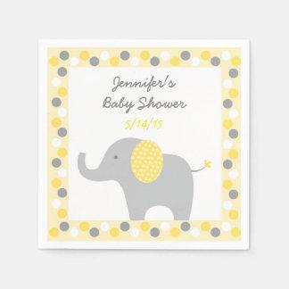 Serviette Jetable Serviettes jaunes et grises d'éléphant
