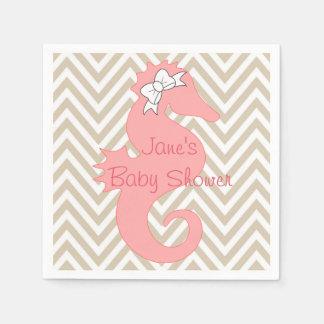 Serviette Jetable Serviettes orientées de baby shower de plage rose