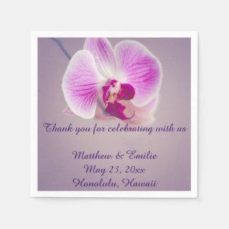 Serviette Jetable Serviettes pourpres de mariage de papier de fleur