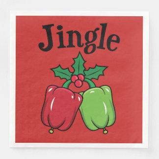 Serviette Jetable Serviettes végétaliennes de Noël : Poivrons de