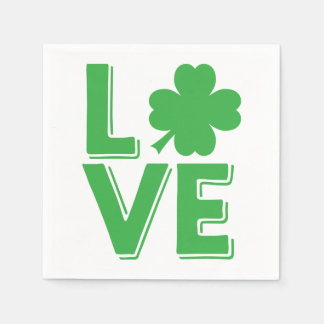 Serviette Jetable Shamrock irlandais de vert d'amour du jour de St