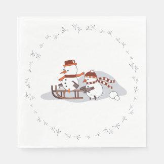 Serviette Jetable Snowbirds sur le traîneau, rond, serviettes