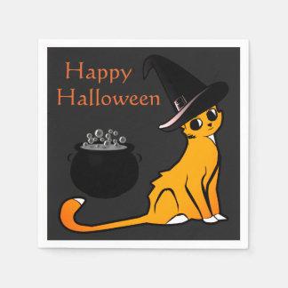 Serviette Jetable Sorcière heureuse de chat de Halloween -