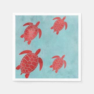 Serviette Jetable Tortue de mer de vert rouge et bleu