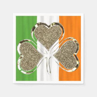 Serviette Jetable Trèfle irlandais de feuille du drapeau 3 de