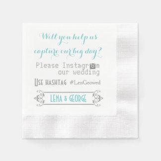 Serviette Jetable Typographie avec le mariage d'aqua de hashtag