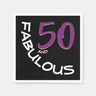 Serviette Jetable Typographie pourpre et blanche 50 et anniversaire