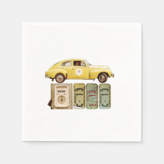 Serviette Jetable Voiture vintage jaune