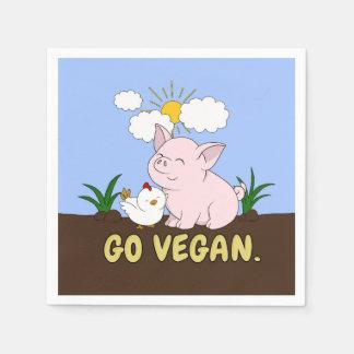 Serviette Jetable Vont le végétalien - porc et poulet mignons