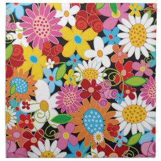 Serviette lunatique colorée de jardin de fleurs de
