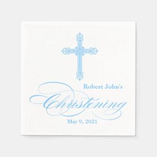 Serviette personnalisée par baptême croisé bleu serviettes en papier