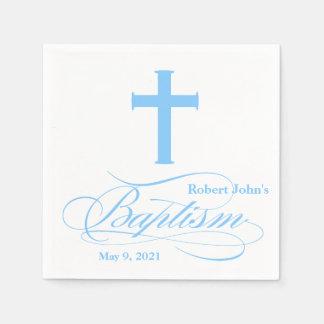 Serviette personnalisée par baptême croisé bleu serviettes jetables