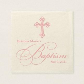 Serviette personnalisée par baptême croisé élégant serviettes en papier