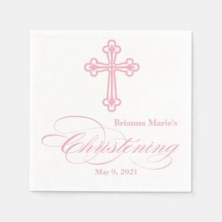 Serviette personnalisée par baptême croisé rose serviettes en papier