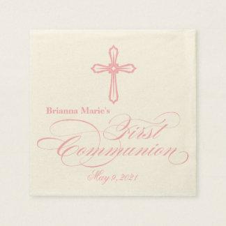 Serviette personnalisée par communion élégante de serviettes jetables