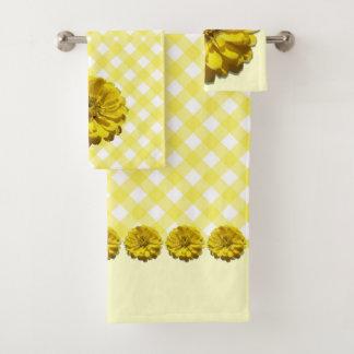 Serviette réglée - Zinnia et trellis jaunes