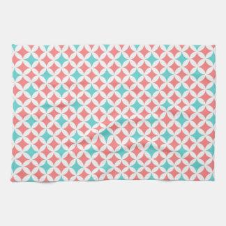 Serviette turquoise de corail de tissu de cuisine  serviette éponge