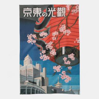 Serviette vintage d'affiche de voyage de Tokyo