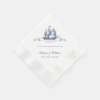 Serviette vintage de cocktail de bleu marine et de serviettes en papier