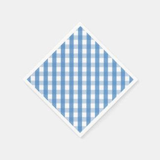 Serviettes blanches bleues de guingan serviettes jetables