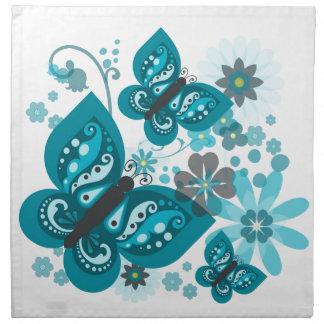 Serviettes (bleues) de tissu de papillons et de
