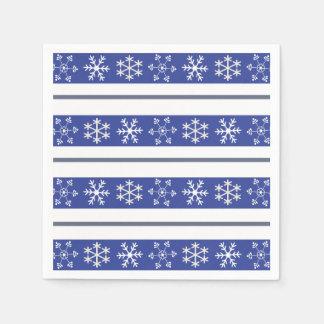 Serviettes bleues et blanches de flocon de neige serviette jetable