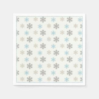 Serviettes bleues rustiques de flocon de neige de serviettes en papier