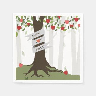 Serviettes de mariage de champ de pommiers serviette en papier
