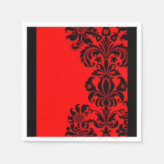 serviettes de papier baroques rouges lumineuses de serviette jetable