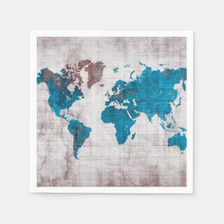 serviettes de papier de carte du monde serviettes en papier