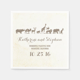 serviettes de papier de faune de mariage ou de serviettes en papier