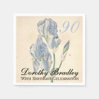 Serviettes de papier de fête d'anniversaire d'iris serviettes jetables