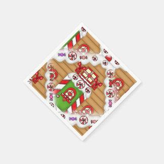 Serviettes de papier de pain d'épice de vacances serviettes jetables