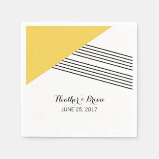 Serviettes de papier de rayure géométrique jaune serviette en papier