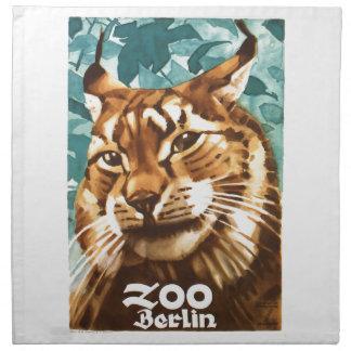 Serviettes De Table Affiche 1930 de Lynx de zoo de Ludwig Hohlwein