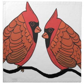 Serviettes De Table Amants cardinaux d'oiseau