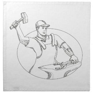 Serviettes De Table Art ovale de utilisation de griffonnage de marteau