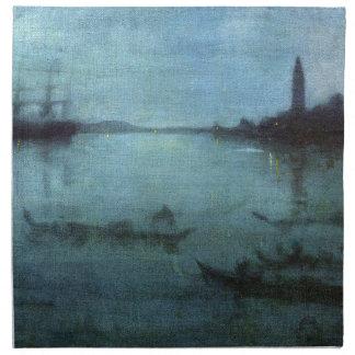 Serviettes De Table Bleu et argentez la lagune Venise