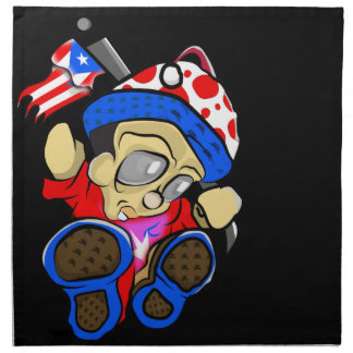 Serviettes De Table Caractère mignon de Porto Rico avec le drapeau