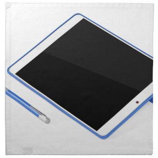 Serviettes De Table Comprimé sur le support et le stylo numérique