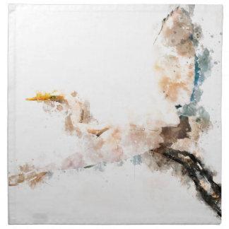 Serviettes De Table Conception d'aquarelle, vol d'oiseau de grue