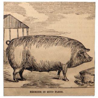 Serviettes De Table Éleveur du 19ème siècle de ` d'impression de porc