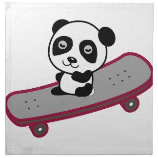 Serviettes De Table Équitation de panda sur la planche à roulettes