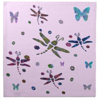 Serviettes De Table fleurs et libellules colorées