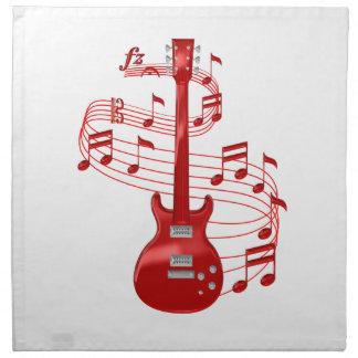 Serviettes De Table Guitare électrique rouge avec des notes de musique